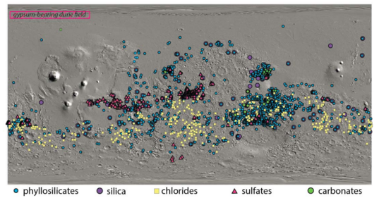 Current known distribution of hydrated minerals on Mars