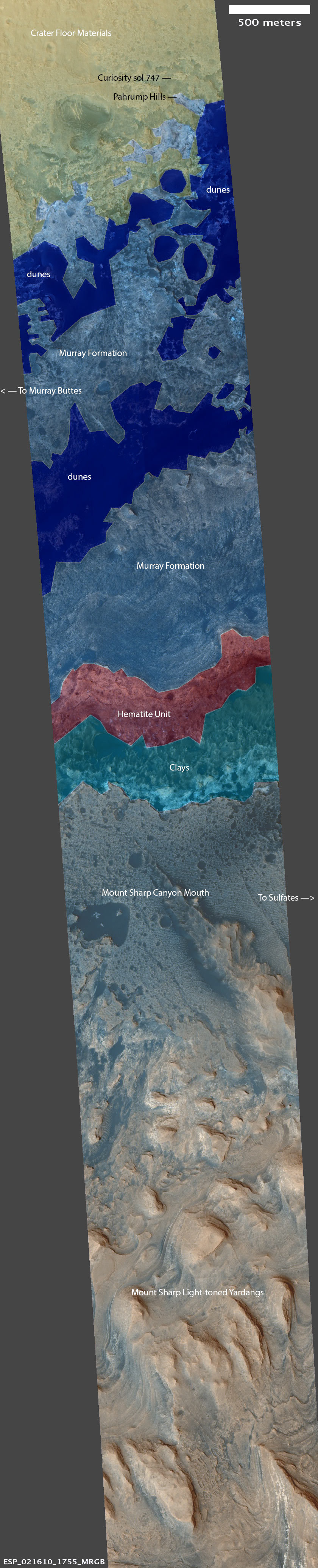 Swath across the base of Mount Sharp (color HiRISE image and map comparison)