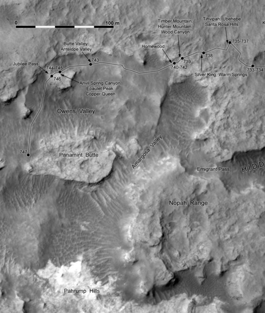 Phil Stooke's Curiosity route map: progress toward Pahrump Hills (sols 733-747)