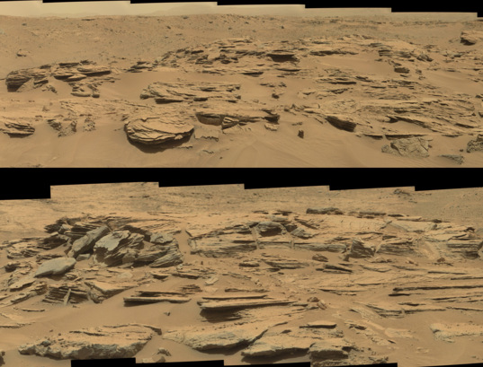 Cross-bedded rock within Panamint Butte, Curiosity sol 748