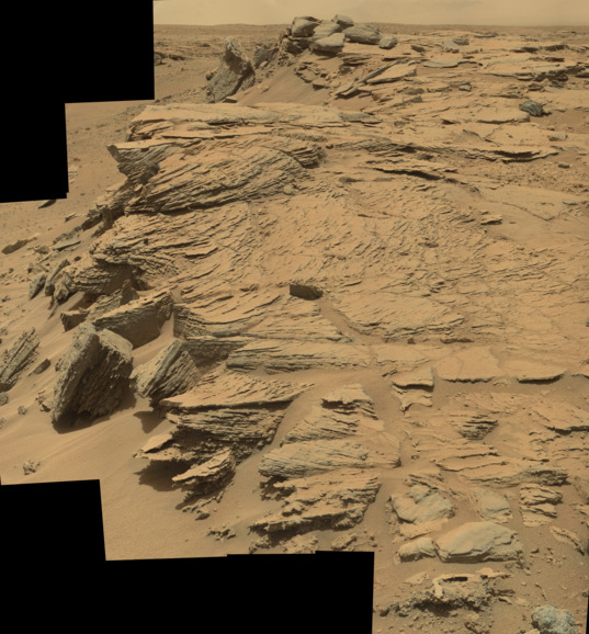 Fascinating geomorphology at Upheaval Dome, Curiosity sol 751
