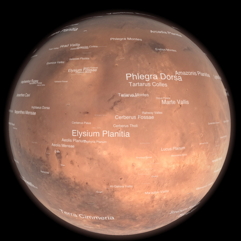 Mars from Mars Orbiter Mission, with Elysium and Gale (context map)