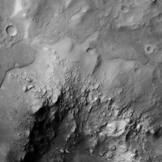 Cratered caprock within Elorza crater, Mars