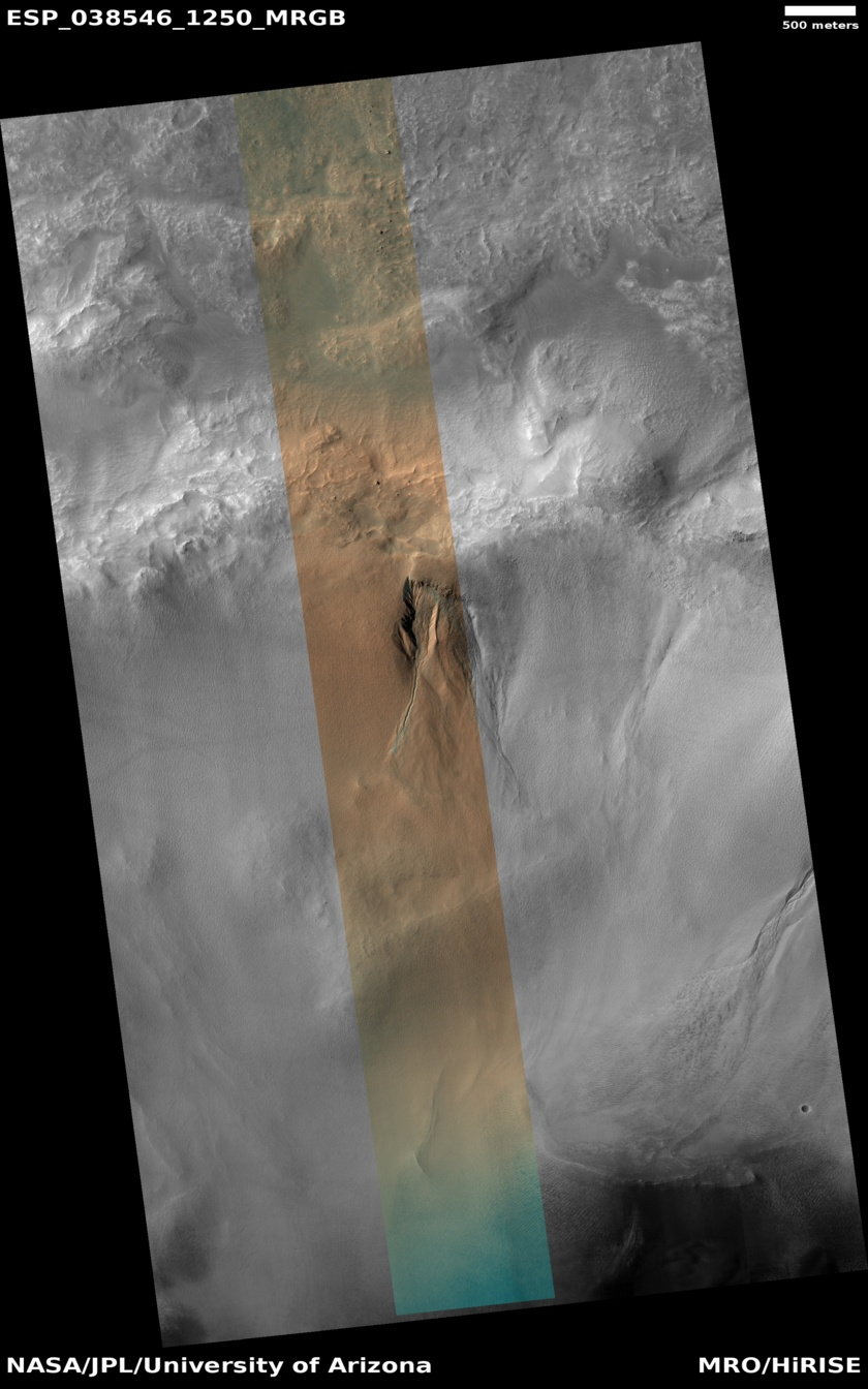 Gully in a Martian Crater