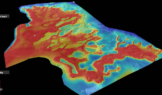 Oblique view of the Eberswalde delta topography