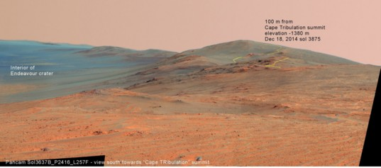 View south along the rim of Endeavour crater
