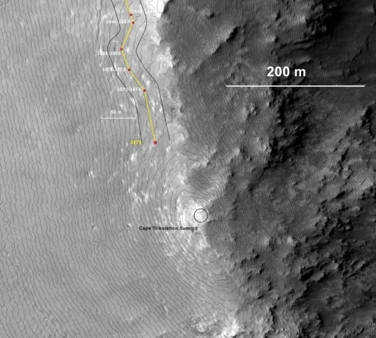 Opportunity's traverse, sols 3844–3875