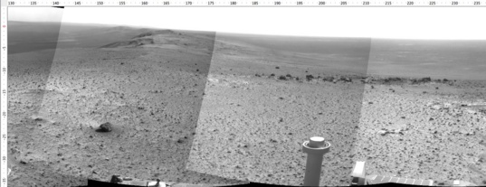 Opportunity Navcam mosaic, sol 3902 end-of-drive