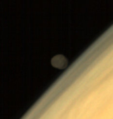 Phobos above Mars, from Mars Orbiter Mission