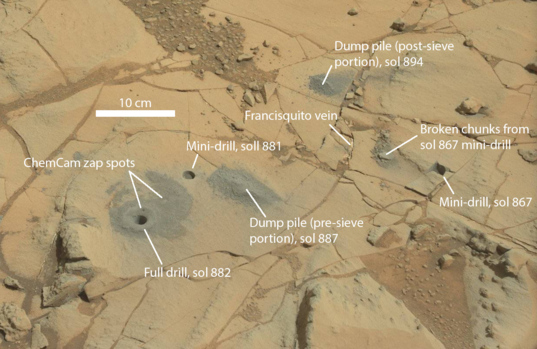 Curiosity's drill site at Mojave as of sol 895 (annotated)