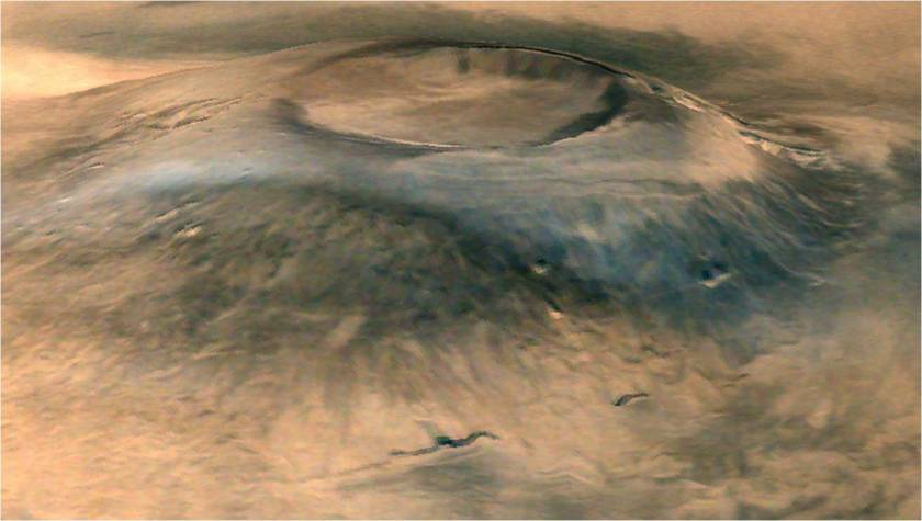 Oblique view of Arsia Mons from Mars Orbiter Mission