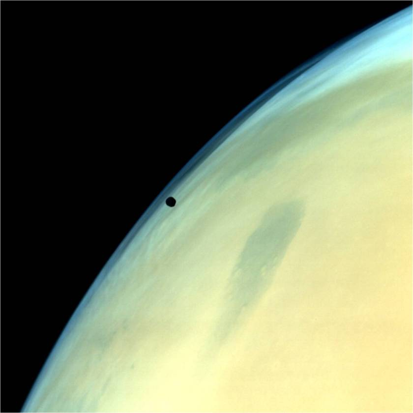 Phobos near the limb of Mars from Mars Orbiter Mission