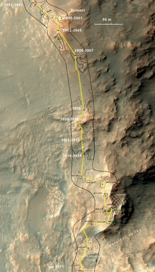 Opportunity's traverse, sols 3881–3971