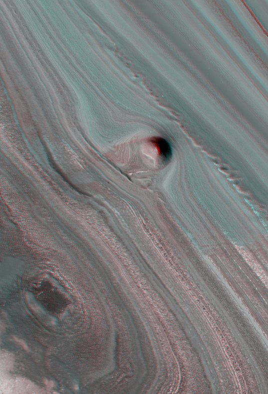 Layered Deposits Near the North Pole of Mars (3D)