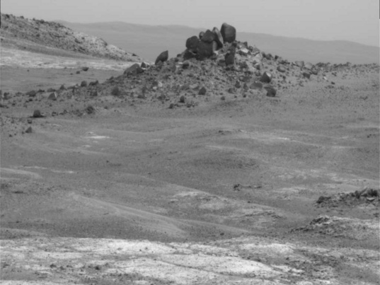 Opportunity Pancam view of odd mound of dark rocks