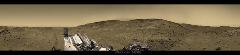 Artist's Drive, sol 950 (colorized Navcam panorama)