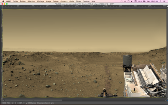 Curiosity and rocks colorized
