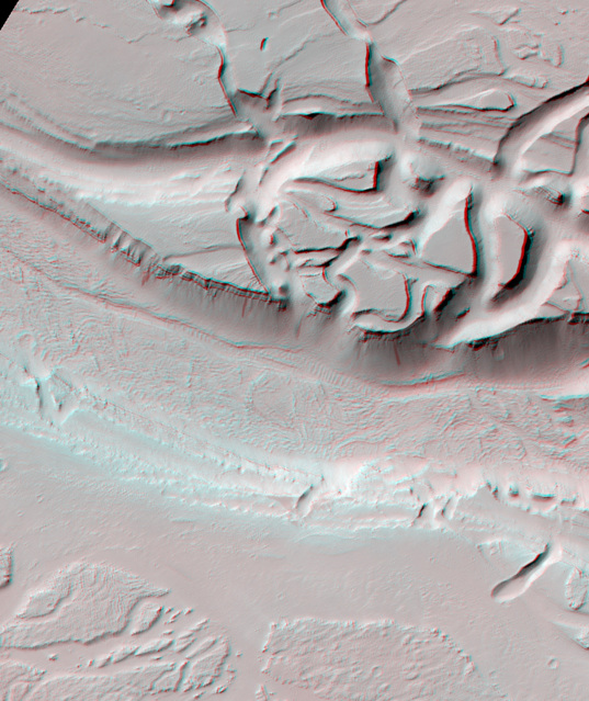 3D Anaglyph: Olympica Fossae (detail)