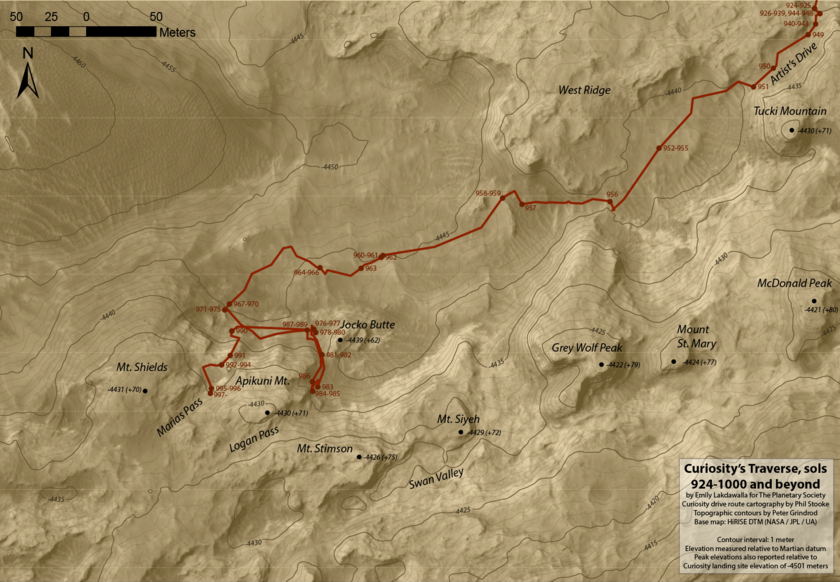 Curiosity's Topographic Traverse, sols 924-1000 and beyond