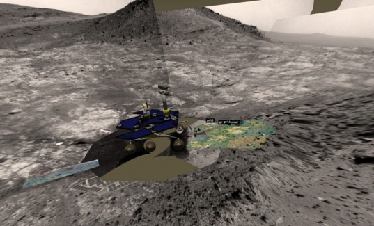 Visualization of Opportunity on the edge of Spirit of Saint Louis crater