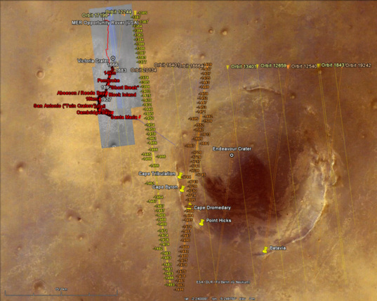 Google Mars: MOLA tracks over Opportunity landing site