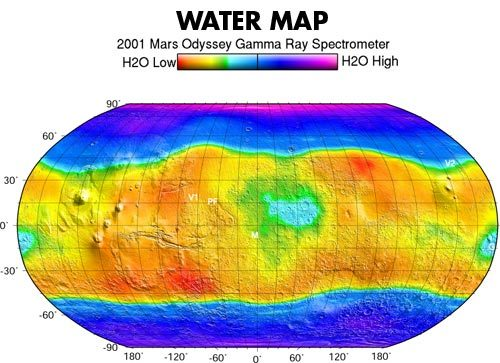 Distribution of water in Mars' soil
