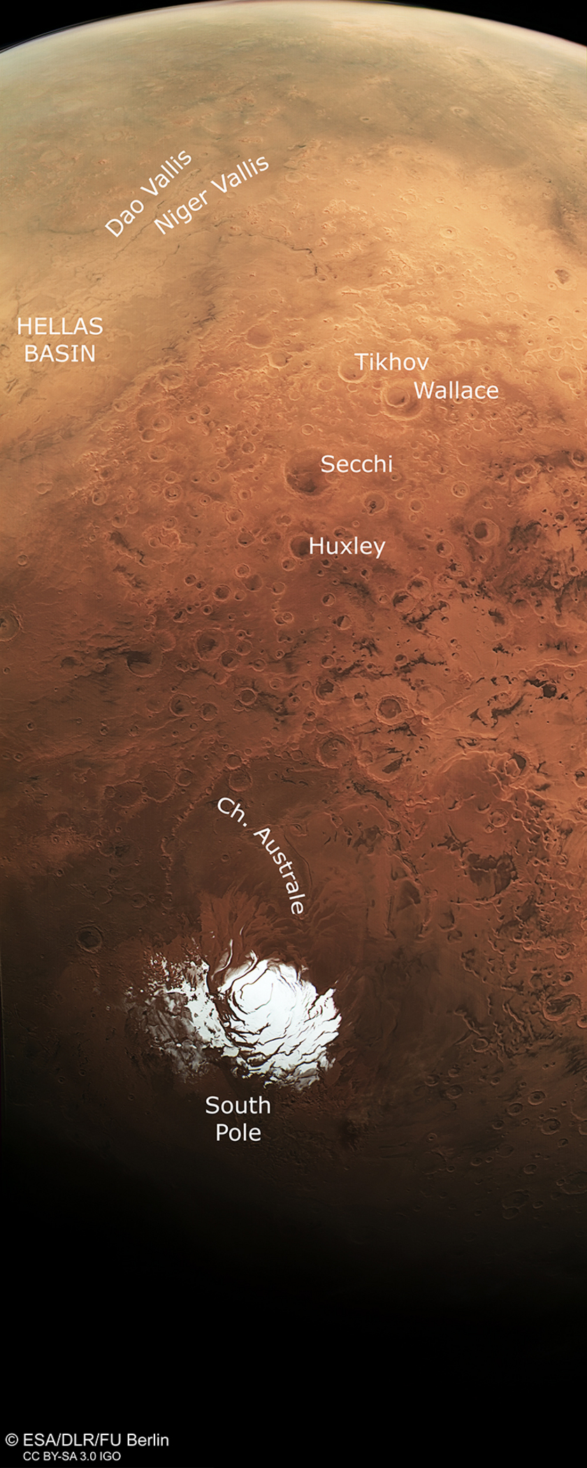 Mars South Pole from Mars Express, Annotated