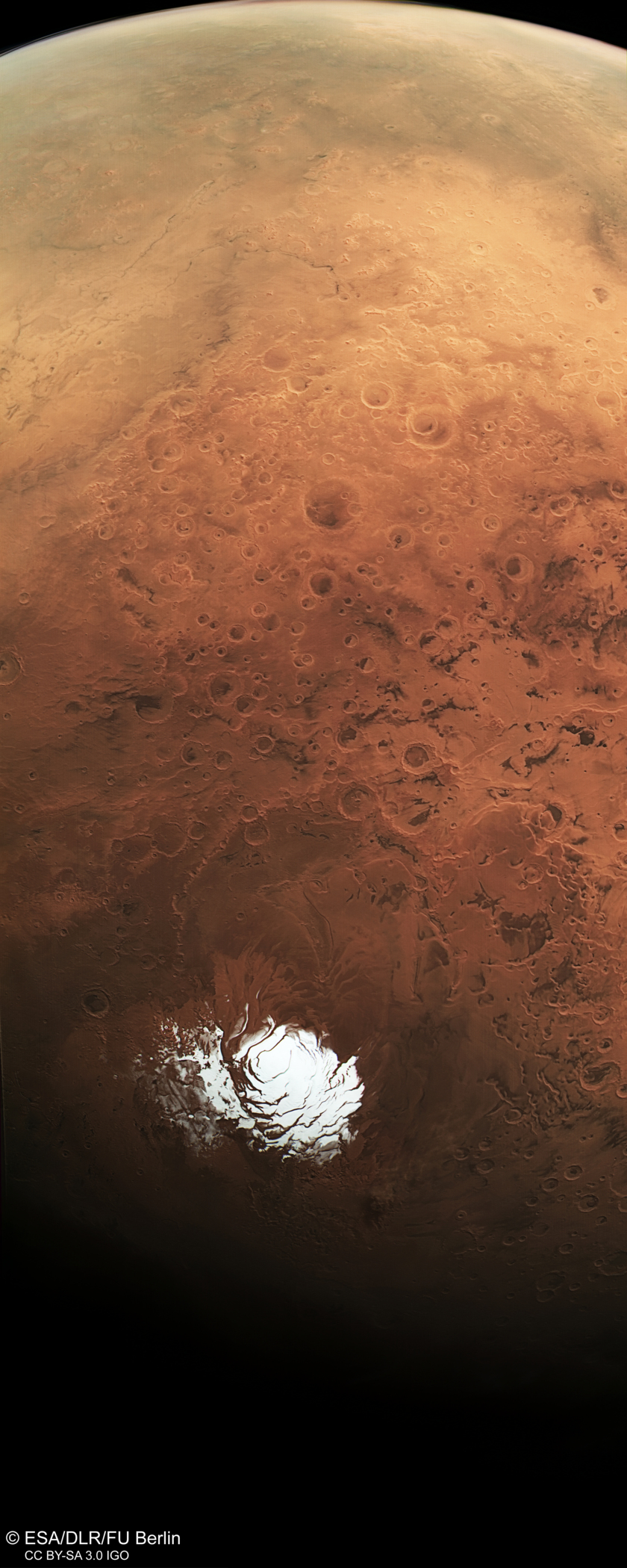 Mars South Pole from Mars Express