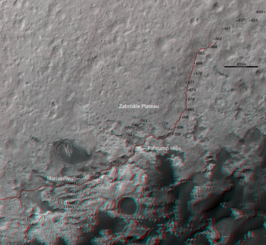 3D route map for Curiosity: Along the dunes to the edge of Murray Buttes, sols 649 and following