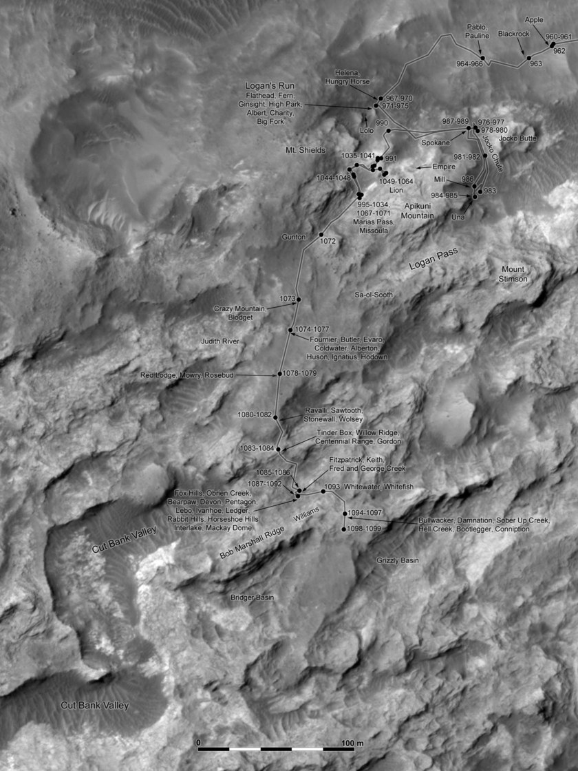 Phil Stooke's Curiosity route map: Marias Pass (sols 960-1099)