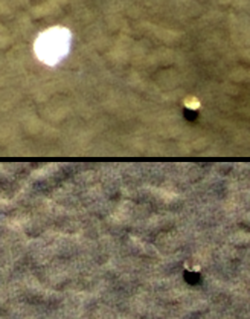 Phoenix backshell and parachute before and after a Martian winter