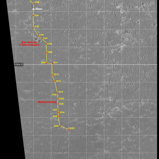 Small section of Opportunity's Route Map to sol 2252