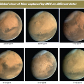 Six global views of Mars from Mars Orbiter Mission