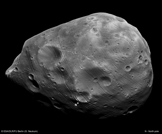 Looking down onto Phobos' north pole