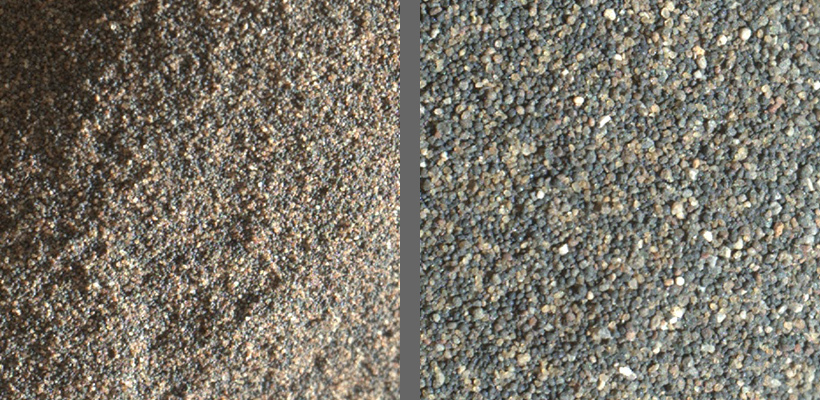 Fine and coarse fractions of Namib dune sand