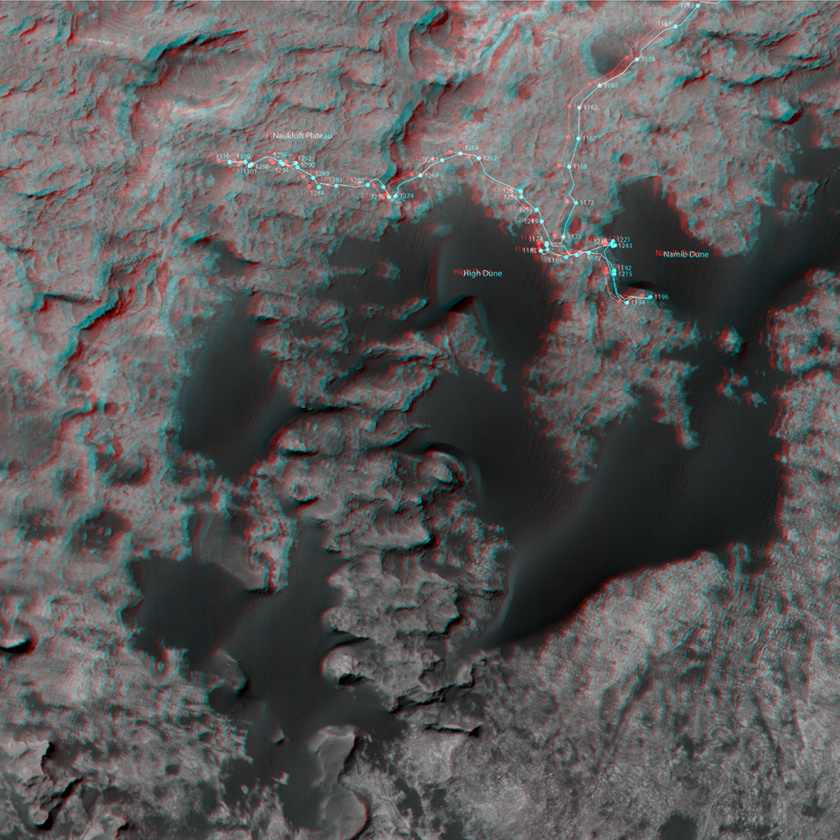 3D route map for Curiosity: Across the Bagnold dune field, sols 1153-1310 (detail)