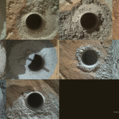 Ten Curiosity drill holes on Mars
