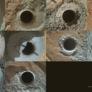 Ten Curiosity drill holes on Mars