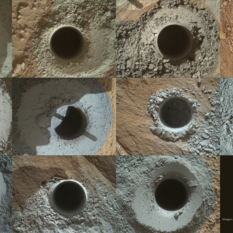 Eleven Curiosity drill holes on Mars