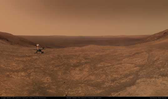 View from the head of Marathon Valley with simulated Opportunity