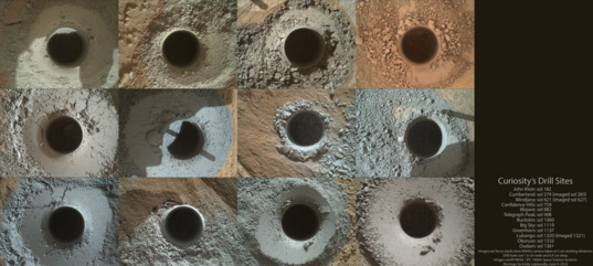 Twelve Curiosity drill holes on Mars
