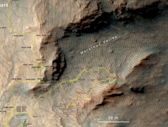Closer view of Opportunity's position in Marathon Valley