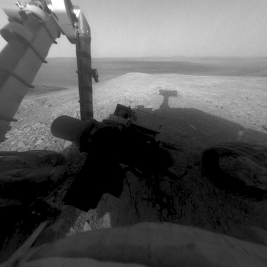 Opportunity Hazcam shadow selfie, sol 4409