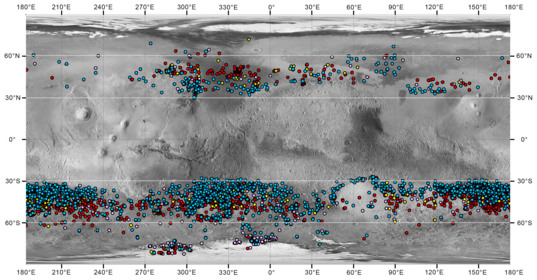 Map of gully distribution on Mars