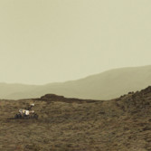 Simulated rover among Murray buttes, Curiosity sol 1421