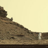 Artist's concept of an astronaut to scale with Murray buttes, Curiosity sol 1419