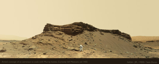 Artist's concept of an astronaut to scale with Murray buttes, Curiosity sol 1432