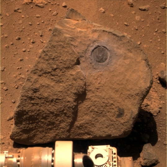 Pancam context view of the RAT hole on Marquette Island, sol 2117