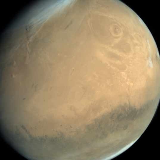 Global view of Mars from MOM: Amazonis Planitia and Olympus Mons