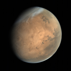 Global view of Mars from MOM: Tharsis Montes and Valles Marineris
